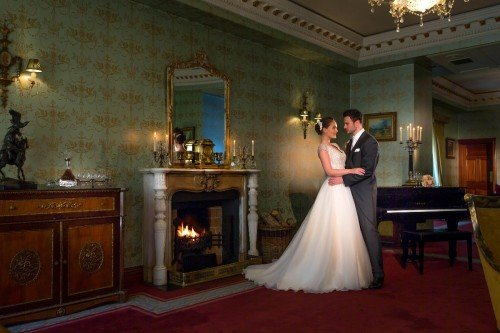 Bride & Groom in the Ffrench Room at Glenlo Abbey Hotel Galway