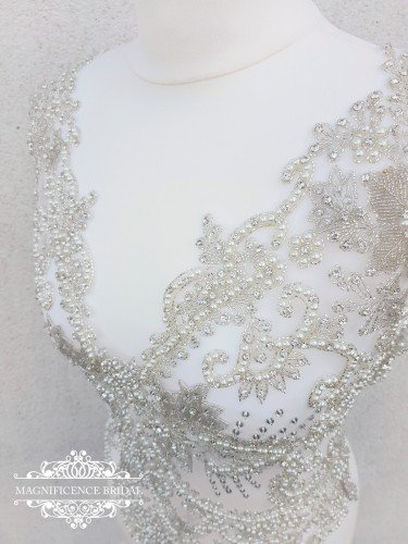 Beaded embroidery, dress embroidery, wedding dress top, dress top applique, large bridal applique, large embroidery, Beaded dress, Sherri