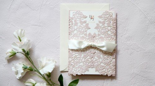 Blush Pink Laser cut invitation -Wedding Invitations - Mass Booklets - Calligraphers - Table Plan Designs - Luxury wedding
