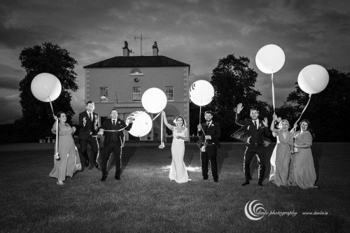 Boyne Hill House Bridal Party at night