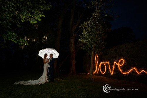 Boyne Hill House bride and groom at night