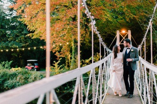 Bride and Groom on the bridge at the K Club