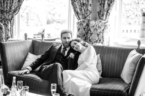 bride and groom taking a moment to chill out