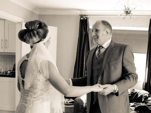 bride, father, dad, belligham castle, moment, special,