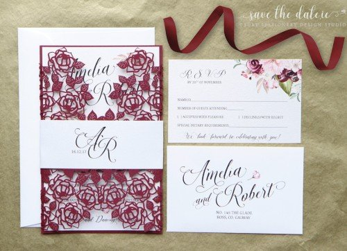 Burgundy Laser cut wedding invitation, Custom Laser cut invitation - Wedding Invitations - Mass Booklets - Calligraphers - Table Plan Designs - Luxury wedding