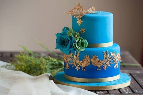 Ombre Blue and Gold Peacocks Wedding Cakes - Cherub Couture Cakes