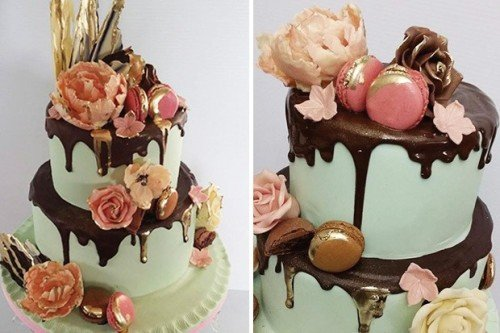 Mint Drip, Chocolate Roses and Macarons Wedding Cakes - Cherub Couture Cakes