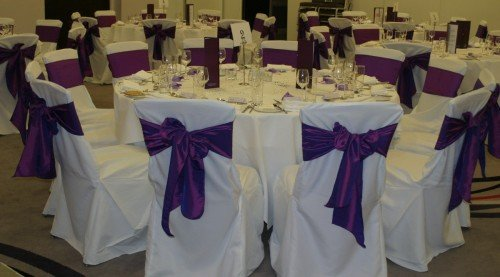 Chair Covers White With Purple Sash