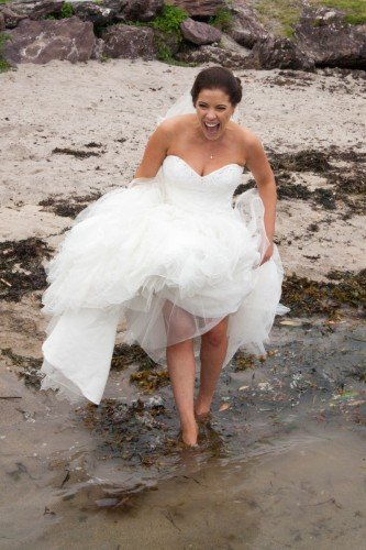 bride in the sea, Parknasilla, Tara Donoghue Photography