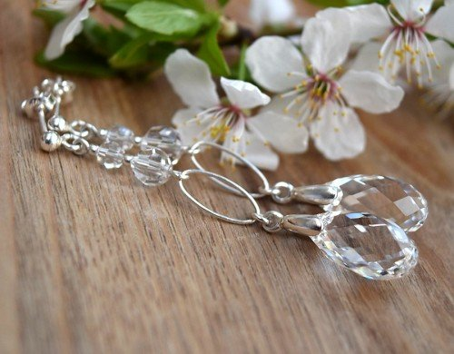 CLASSIC Graceful Long 6cm Tear Drop Crystal Clear Swarovski Earrings