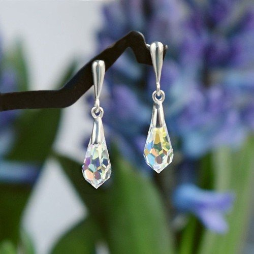 CLASSIC Graceful Swarovski Aurore Boreale Crystal Earrings 3 cm