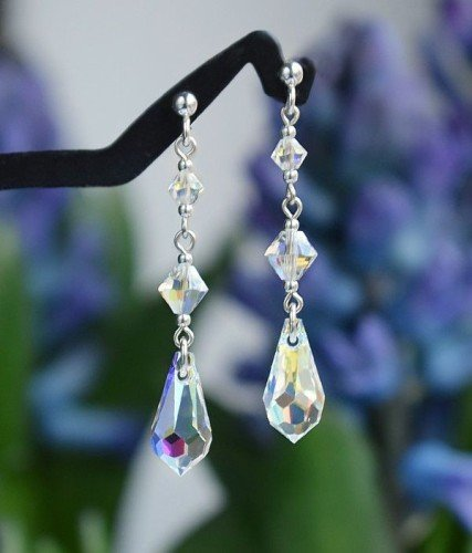 CLASSIC Graceful Swarovski Aurore Boreale Crystal Earrings 4.5 cm