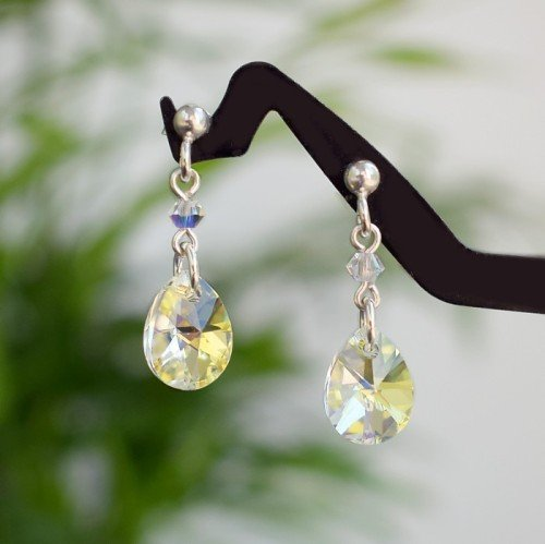 SARAH Classic Graceful Teardrop Aurora Borealis Crystal Earrings