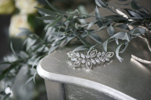 CYAN Crystal Leaf Bridal Hair Comb