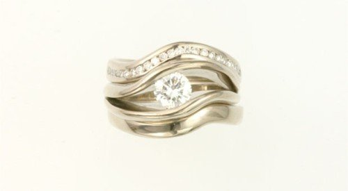 double wedding band diamond set together