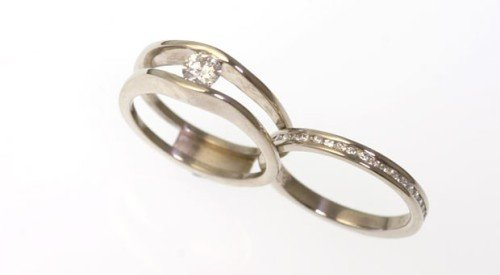 slimline wedding and engagement ring opened apart