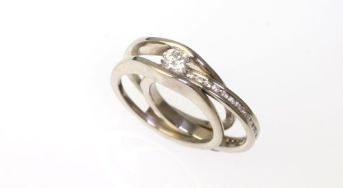 slimline wedding band sliding together