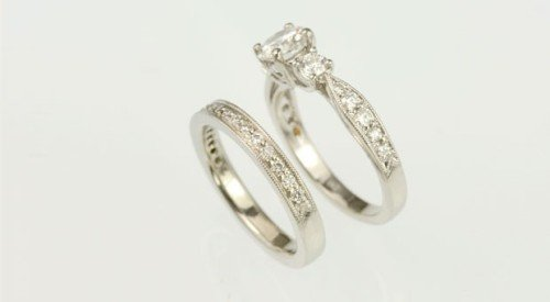 wedding band matching existing vintage setting style