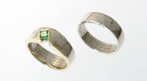 poetry inscribed wedding bands diamonds and coloured gemstone