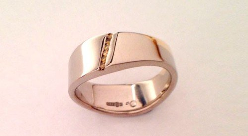 two colour matching wedding band orange diamond channel