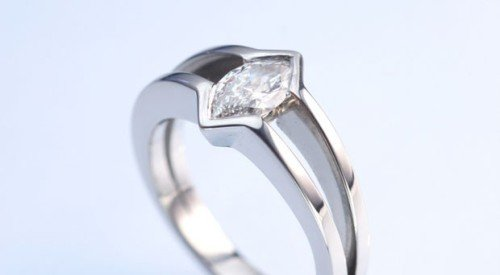 marquis shaped solitaire diamond in platinum