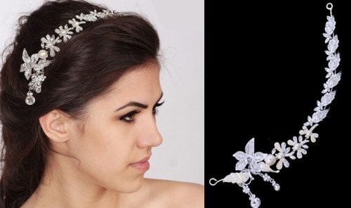 DALLIA Elegant Bridal Hairband with Pearls and Crystals