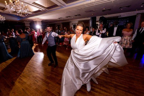 Bride and Groom first dance on wedding day in Vienna Woods Hotel Cork