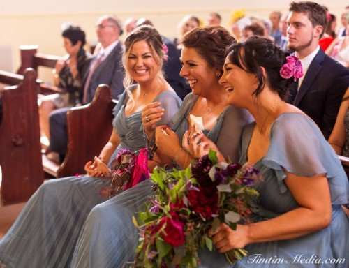 Bridesmaids during the wedding ceremony in Cork