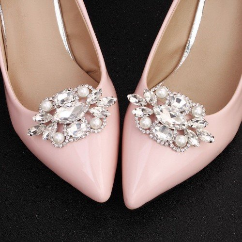 DIADEM Crystal and Pearl Bridal Shoe Clips