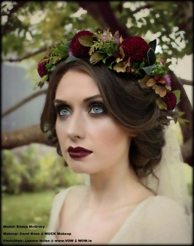 boho bridal hair with flowercrown
