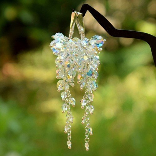ELEANOR Aurora Boreale Crystal Long 8.5cm Swarovski Earrings