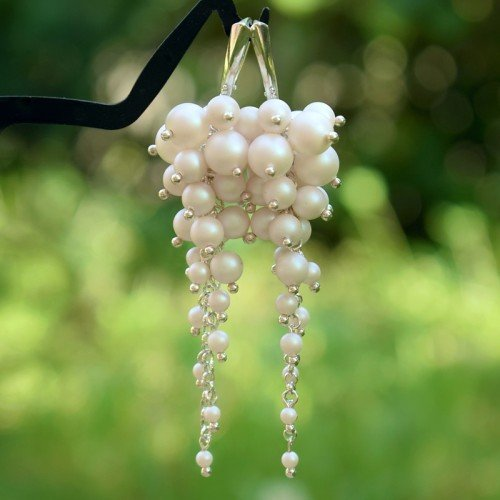 ELEANOR Pearl Crystal Pearlescent White Long 8.5cm Swarovski Earrings