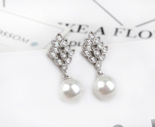 ELENA Pearl Drop Crystal Silver Stud Earrings