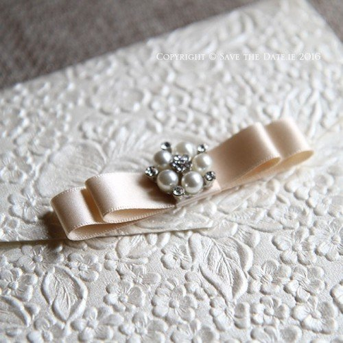 Embossed luxury wedding invitation pocket fold