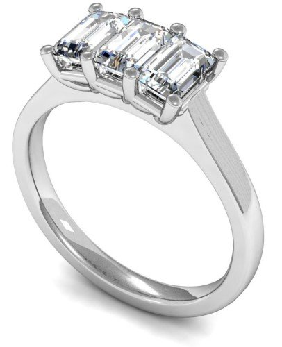 Emerald cut three stone engagement ring
