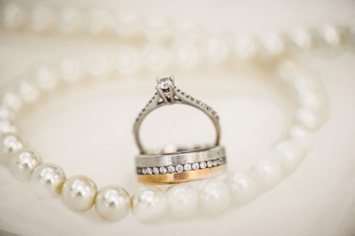 Engagement Ring with Matching Wedding Ring in 18k White Gold and 18k Yellow Gold