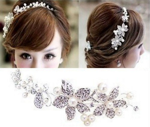 FLORY Bridal Hairband with Pearls and Crystals