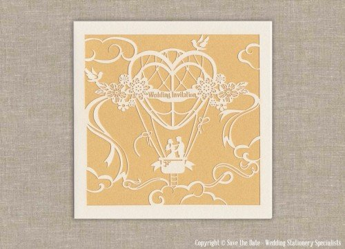 Fly away with me laser cut wedding invitation destination wedding