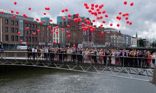 morrison hotel, gay wedding, grooms, dublin city, ciity wedding, balloons, - Janet Meehan Photography