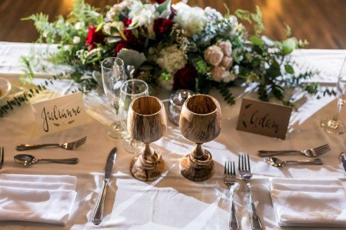 Set of two wedding goblets on table