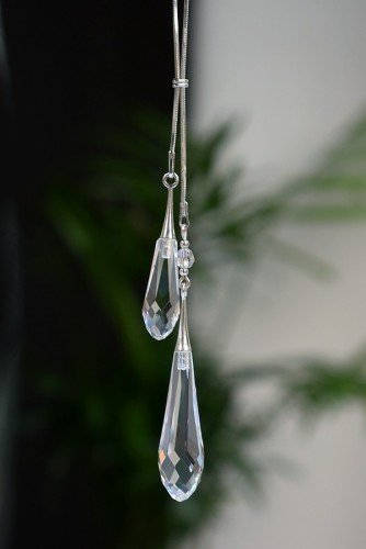 GRACE DUO Transparent Swarovski Long Teardrop Crystal Necklace