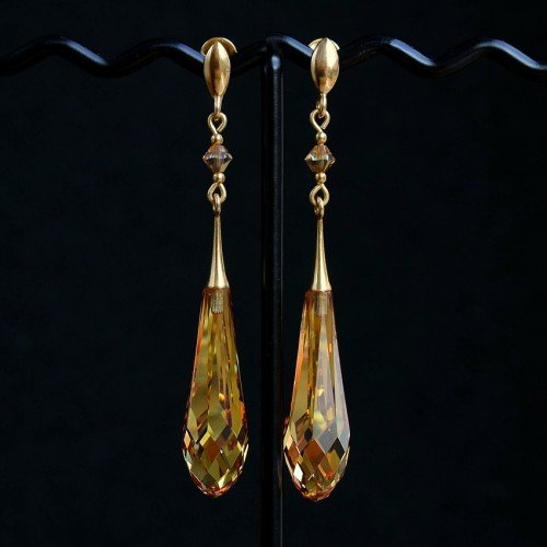 GRACE Sunshine Metallic Gold Swarovski Long Pure Drop Crystal Earrings