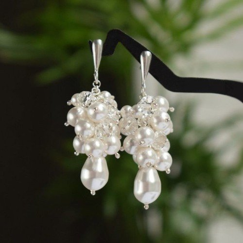 GRETA White and Crystal 4.5cm Swarovski Earrings