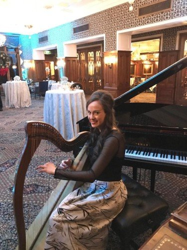 Sinead Healy Harpist and Pianist at Ashford Castle on Christmas Night 2018