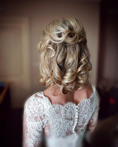 medium length bridal hairstyle