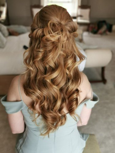 Bridesmaid half up style loose curls