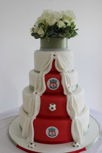 Wedding Cakes Sligo - www.cakerise.ie  Something for the Grooms - Traditional iced on one side & football theme on the other.