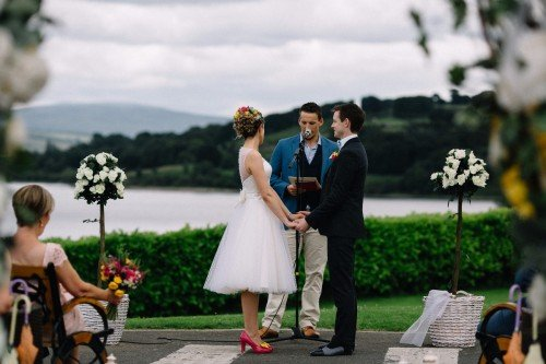 Outdoor Wedding Ceremony 'Saying I do' - The Avon Lakeshore Wedding Venue