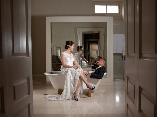 carton house, bridal suite, bath, bride, groom- Janet Meehan Photography