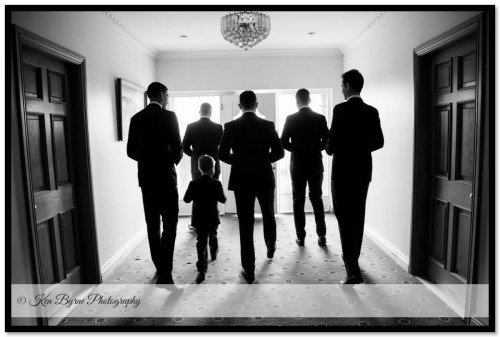 Artistc silhouette of groom and groomsmen during the grooms coverage on the wedding morning Co. Westmeath